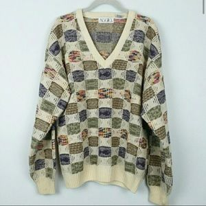 Vintage Textured Chunky Knit Grandpa Dad Sweater